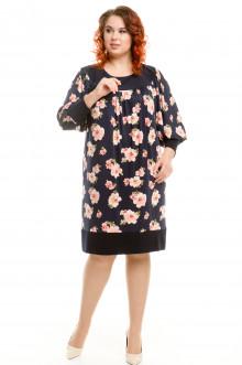Платье 355 Luxury Plus (Цветы на синем)