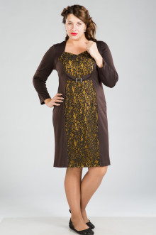 Платье 282 Luxury Plus (Шокол/горчица)