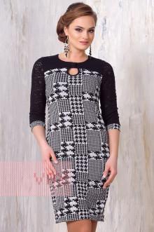 Платье женское 3155 Фемина (Черный-белый-лапка клетка/гипюр)