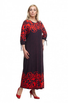 """Платье """"Олси"""" 1605045/1 ОЛСИ (Красный/розы)"""